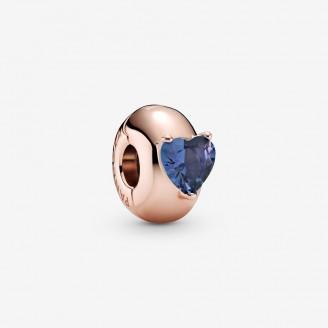Blue Heart Solitaire Clip Charm