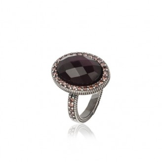 Silver ring, pink tourmaline and zircons