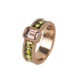 Silver ring with rose gold bath and zircons
