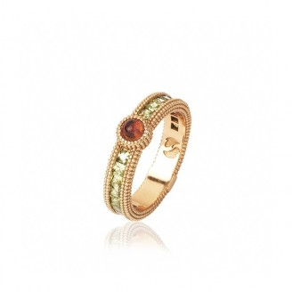 Rose gold plated silver ring, pink tourmaline and zircons
