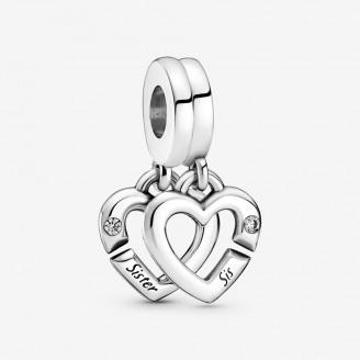 Linked Sister Hearts Split Dangle Charm